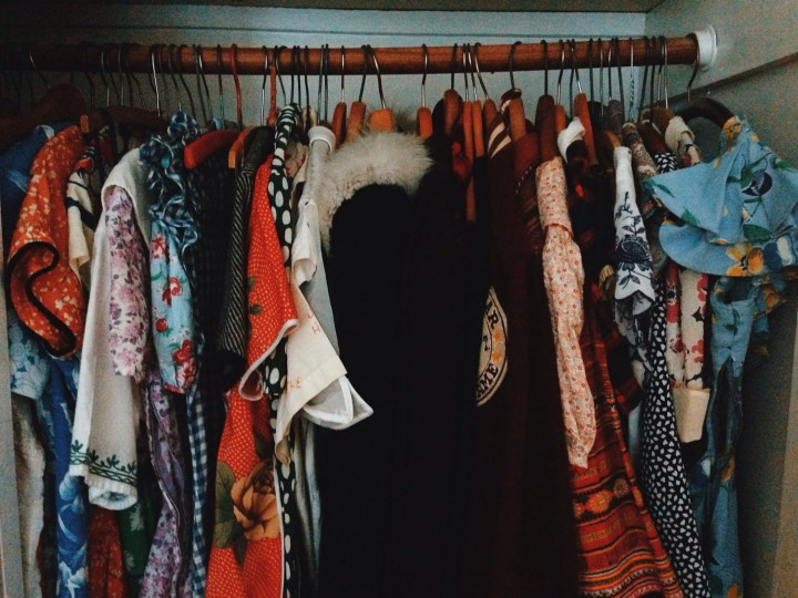 "The ""weekend"" side of my closet, with the vintage dresses I love to wear when I can."