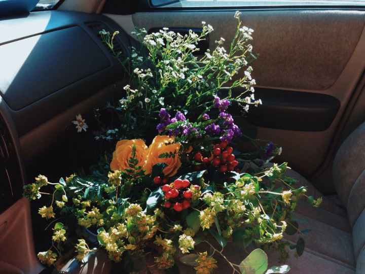Flowers ride shotgun with me.