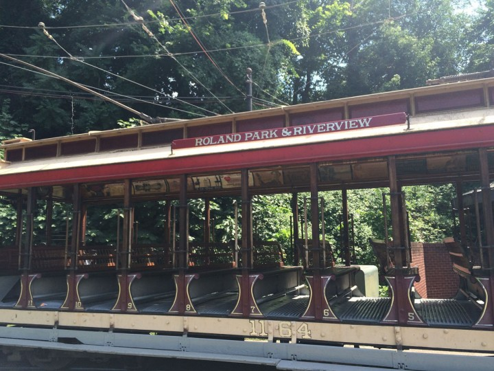 An open-air streetcar from 1902 at the Streetcar Museum on Jones Falls Road. (Christina Tkacik/Baltimore Sun)