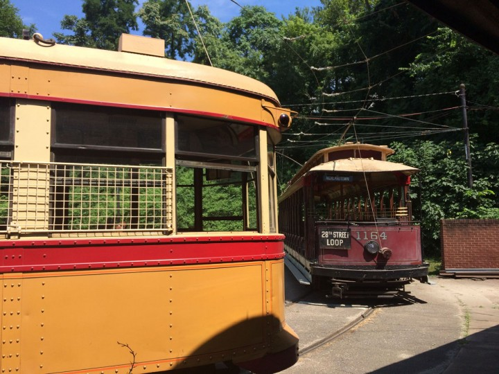 Vintage streetcars have been re-fitted to ride along old train tracks at the volunteer-run Streetcar Museum in Baltimore, which is celebrating its 50th anniversary this year. (Christina Tkacik/Baltimore Sun)