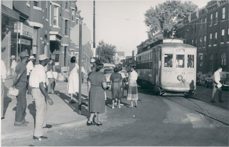 July 2, 1952-BALTIMORE TRANSIT COMPANY: STRIKE--Typical scene this moring across throughout the city. Photo by Sun photographer Albert D. Cochran.
