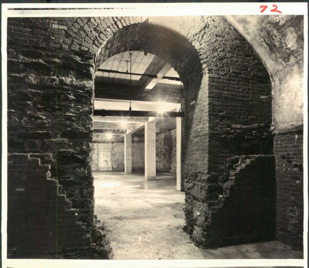 Archival photo of the vault beneath Lexington Market, believed to have been used to bootleg whiskey during Prohibition. (Baltimore Sun)