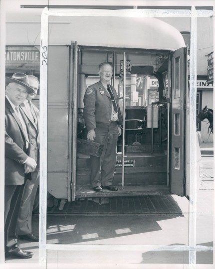 April 30, 1958 - NOTHING HAPPENS -- William J. Moxley, motorman on the Baltimore Transit Company's No. 8 line for 45-years, has traveled approximately 140,008,000 miles an he claims nothing unusual ever happened. Photo taken by Sun photographer.