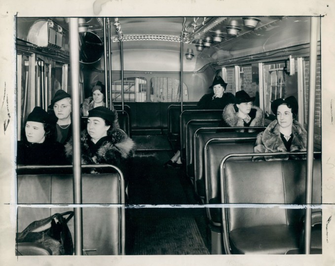 Inside a trackless trolley, 1938. (Baltimore Sun)