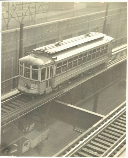 December 29, 1936 - Street car crossing Guilford Avenue elevated as seen from its viaduct. Photo by Sun staff photographer.
