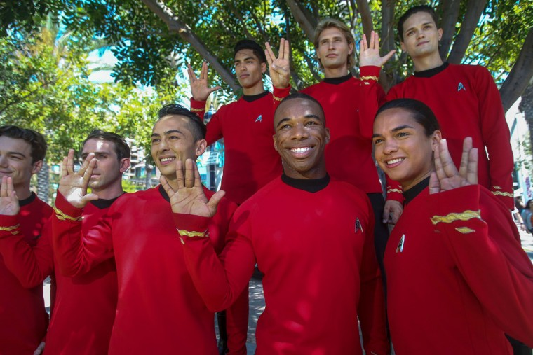 A group of Trekkies get together during Comic-Con International 2016 in San Diego, California on July 21, 2016. (BILL WECHTER/AFP/Getty Images)
