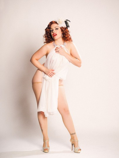 """Baltimore burlesque dancer Ruby Rockafella poses as legendary stripper Blaze Starr. Parke, who has previously worked with Prince, studied vintage pinups to perfect the lighting for the retro-inspired shoot. """"I really had to study the lighting to try to get as close to that as possible."""" (Photo by Steve Parke)"""