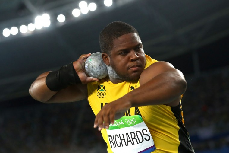O'Dayne Richards of Jamaica competes during the Men's Shot Put Final on Day 13 of the Rio 2016 Olympic Games at the Olympic Stadium on August 18, 2016 in Rio de Janeiro, Brazil. (Photo by Alexander Hassenstein/Getty Images)