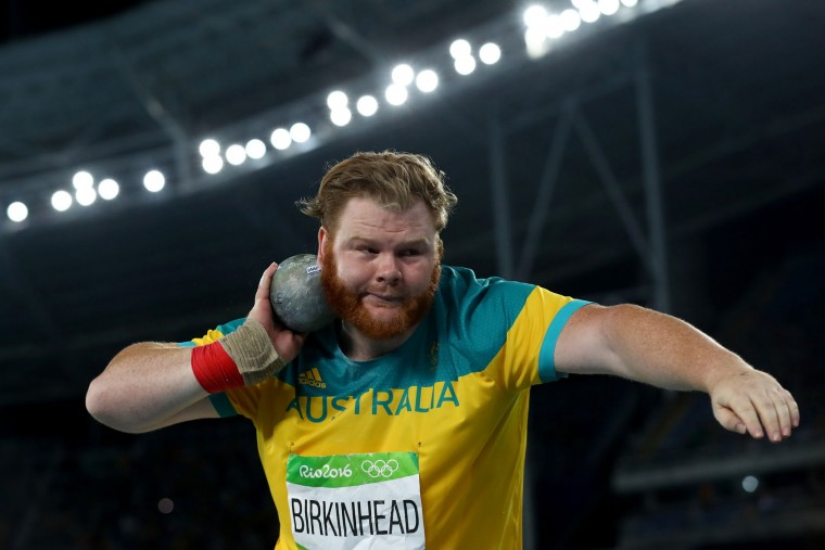 Damien Birkinhead of Australia competes during the Men's Shot Put Final on Day 13 of the Rio 2016 Olympic Games at the Olympic Stadium on August 18, 2016 in Rio de Janeiro, Brazil. (Photo by Alexander Hassenstein/Getty Images)