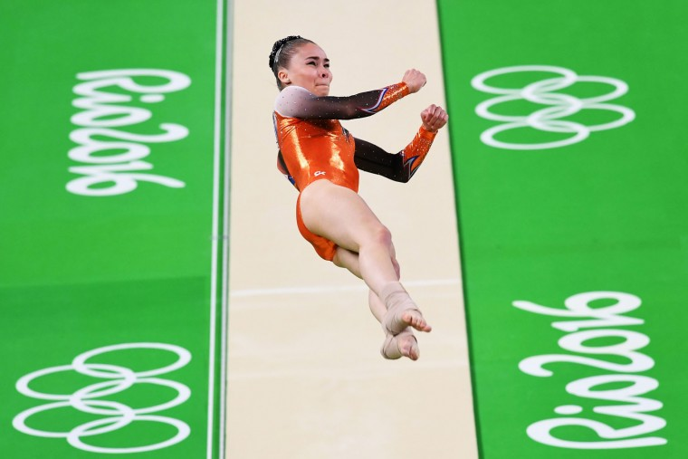 Eythora Thorsdottir of the Netherlands competes on the vault during the Artistic Gymnastics Women's Team Final on Day 4 of the Rio 2016 Olympic Games at the Rio Olympic Arena on August 9, 2016 in Rio de Janeiro, Brazil. (Photo by Quinn Rooney/Getty Images)