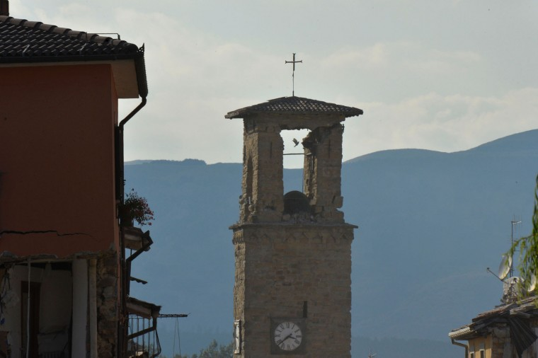 The damaged Sant'Agostino church is pictured in the central Italian village of Amatrice on August 26, 2016, two day after a 6.2-magnitude earthquake struck the region killing some 267 people. An increasingly forlorn search for victims of the earthquake that brought carnage to central Italy entered a third day on August 26, 2016 as a day of mourning was declared for victims of a disaster that has claimed at least 267 lives. Releasing the new confirmed death toll, Immacolata Postiglione, head of the Civil Protection agency's emergency unit, indicated there had been no survivors found overnight in any of the remote mountain villages devastated by August 24's powerful pre-dawn quake. At least 367 people have been hospitalised with injuries but no one has been pulled alive from the piles of collapsed masonry since August 24 evening. (Andreas Solaro/AFP/Getty Images)