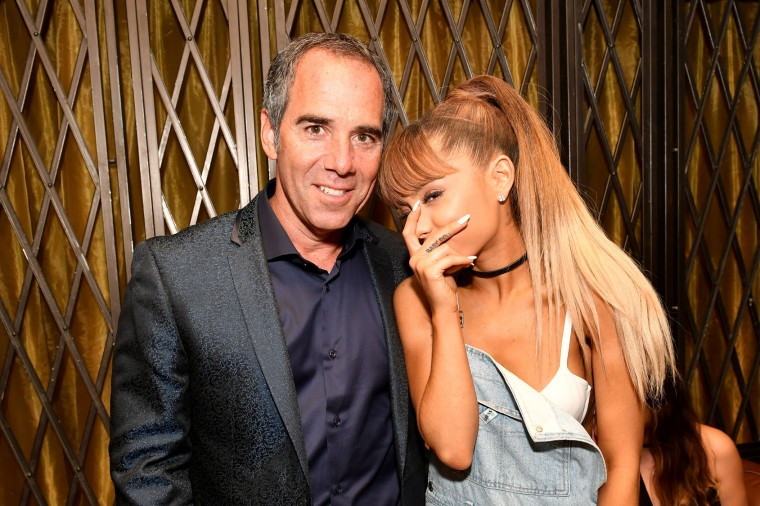 CEO of Republic Records Monte Lipman (L) and Ariana Grande attend a celebration with Republic Records and Guess after the 2016 MTV Video Music Awards at Vandal with cocktails by Ciroc on August 28, 2016 in New York City. (Photo by Slaven Vlasic/Getty Images for Republic Records)