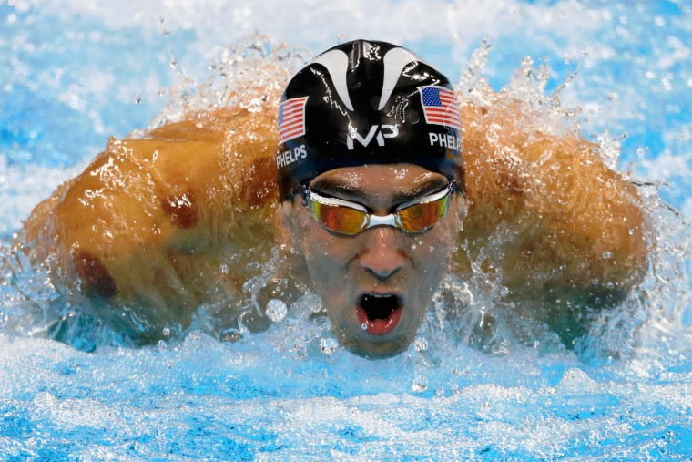 Michael Phelps of the United States competes in the second Semifinal of the Men's 200m Individual Medley on Day 5 of the Rio 2016 Olympic Games at the Olympic Aquatics Stadium on August 10, 2016 in Rio de Janeiro, Brazil. (Photo by Jamie Squire/Getty Images)