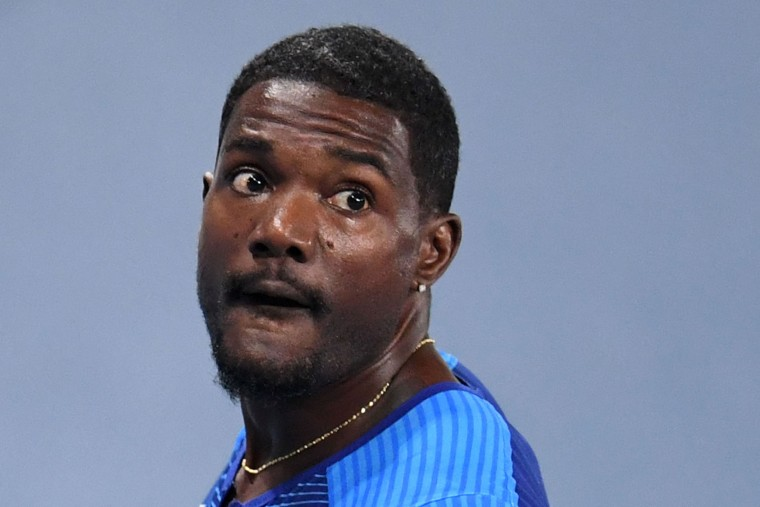 USA's Justin Gatlin looks on after competing in the Men's 200m Semifinal during the athletics event at the Rio 2016 Olympic Games at the Olympic Stadium in Rio de Janeiro on August 17, 2016. (Pedro Ugarte/AFP/Getty Images)