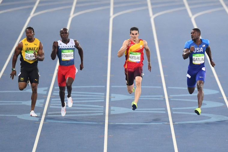 (FromL) Jamaica's Yohan Blake, Panama's Alonso Edward, Spain's Bruno Hortelano and USA's Justin Gatlin compete in the Men's 200m Semifinal during the athletics event at the Rio 2016 Olympic Games at the Olympic Stadium in Rio de Janeiro on August 17, 2016. (Pedro Ugarte/AFP/Getty Images)
