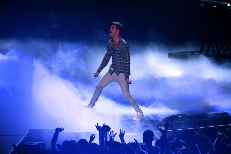 Andrew Taggart perform on stage during the 2016 MTV Video Music Award at the Madison Square Garden in New York on August 28, 2016. (Jewel Samad/AFP/Getty Images)