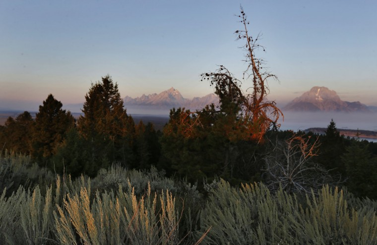 The sun at dawn illuminates mountain peaks as seen from Signal Mountain in Grand Teton National Park, Wyo., Thursday, Aug 25, 2016. Thursday marks the 100th anniversary of the National Park Service. (AP Photo/Brennan Linsley)