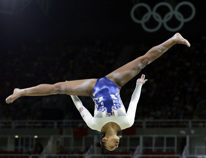 Britain's Rebecca Downie performs on the balance beam during the artistic gymnastics women's team final at the 2016 Summer Olympics in Rio de Janeiro, Brazil, Tuesday, Aug. 9, 2016. (AP Photo/Rebecca Blackwell)