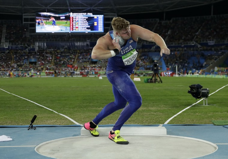 United States' Ryan Crouser makes an attempt in the men's shot put final during the athletics competitions of the 2016 Summer Olympics at the Olympic stadium in Rio de Janeiro, Brazil, Thursday, Aug. 18, 2016. (AP Photo/Matt Slocum)