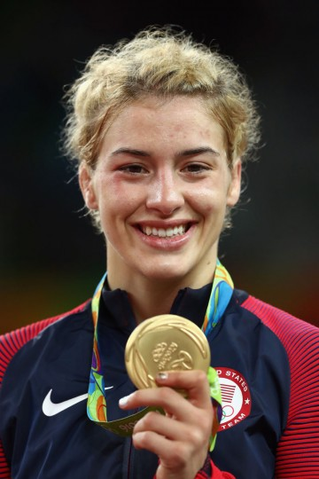 Gold medalist Helen Louise Maroulis of the United States celebrates during the medal ceremony after the Women's Freestyle 53 kg competition on Day 13 of the Rio 2016 Olympic Games at Carioca Arena 2 on August 18, 2016 in Rio de Janeiro, Brazil. (Photo by Julian Finney/Getty Images)