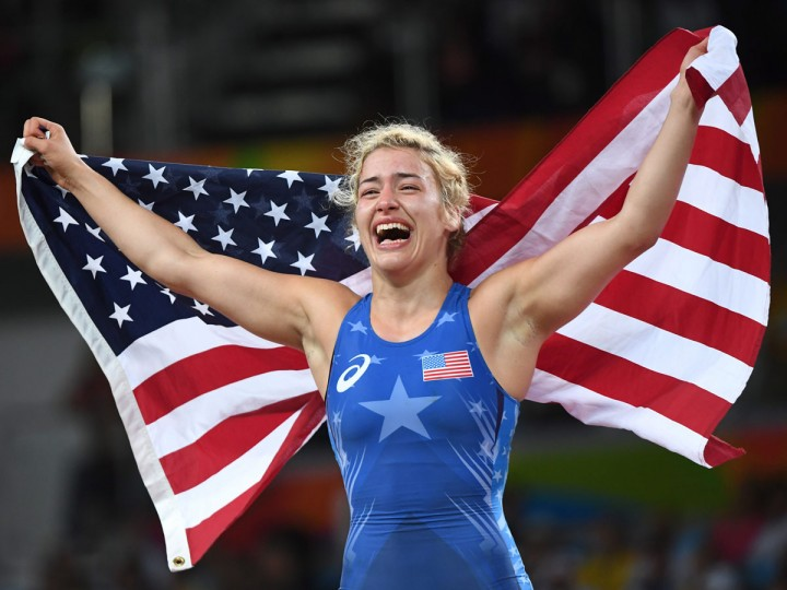 United States' Helen Louise Maroulis celebrates after beating Japan's Saori Yoshida for the gold during the women's wrestling freestyle 53-kg competition at the 2016 Summer Olympics in Rio de Janeiro, Brazil, Thursday, Aug. 18, 2016. (Ryan Remiorz/The Canadian Press via AP)