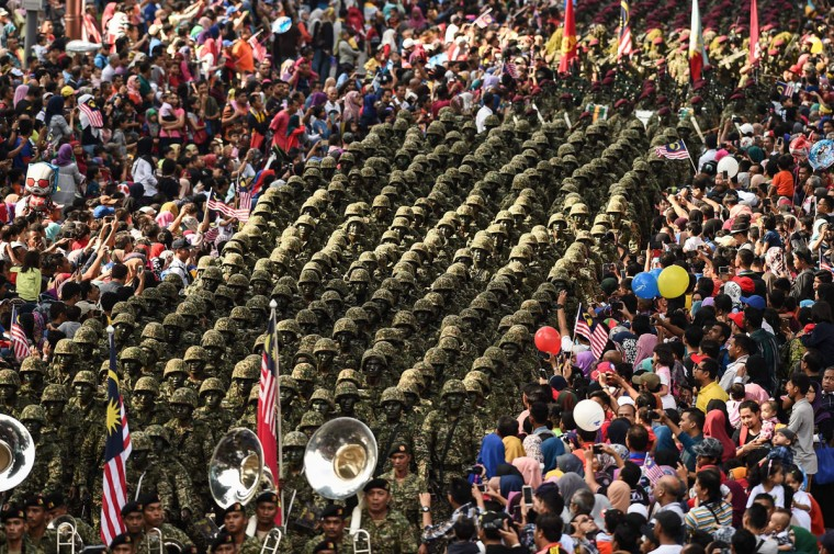 Malaysian military personnel take part in the 59th National Day celebrations at Independence Square in Kuala Lumpur on August 31, 2016. Malaysia celebrated its 59th National Day to commemorate the independence of the Federation of Malaya from British rule in 1957. (MOHD RASFAN/AFP/Getty Images)