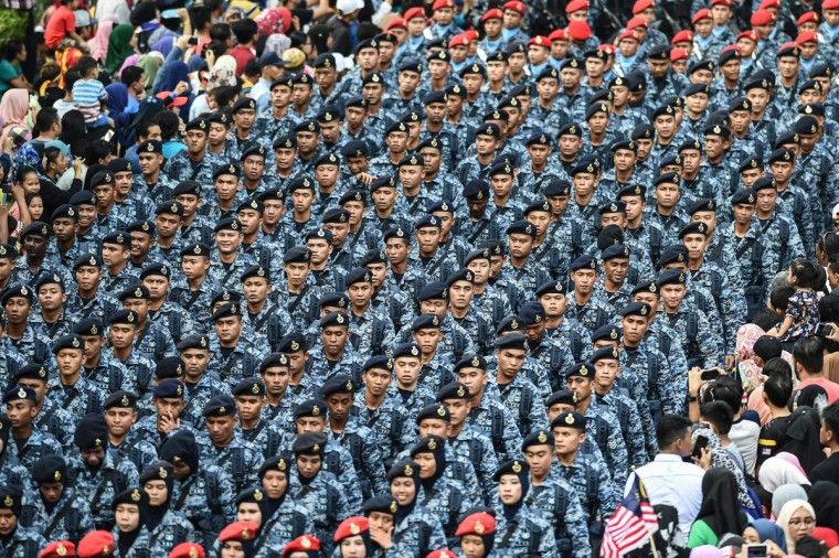 Members of the Royal Malaysian Air Force take part in the 59th National Day celebrations at Independence Square in Kuala Lumpur on August 31, 2016. Malaysia celebrated its 59th National Day to commemorate the independence of the Federation of Malaya from British rule in 1957. (MOHD RASFAN/AFP/Getty Images)