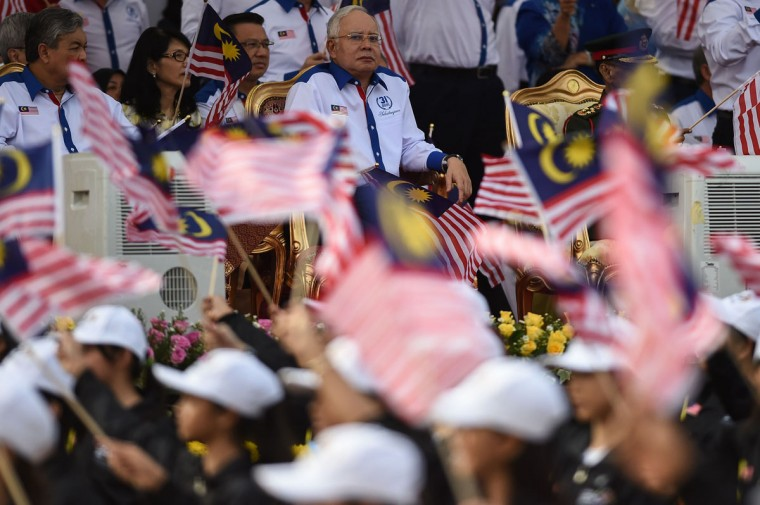 Malaysia's Prime Minister Najib Razak (center) looks on during the 59th National Day celebrations at Independence Square in Kuala Lumpur on August 31, 2016. Malaysia celebrated its 59th National Day to commemorate the independence of the Federation of Malaya from British rule in 1957. (MOHD RASFAN/AFP/Getty Images)