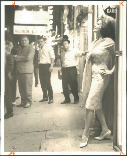 July 23, 1964 - Blaze Starr takes a last look at The Block on Baltimore street. Photo by Richard Childress/Baltimore Sun.