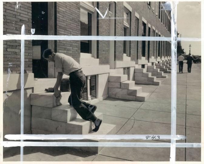 June 2, 1933- Washing the marble steps on North Pulaski Street. (Bodine/Baltimore Sun)