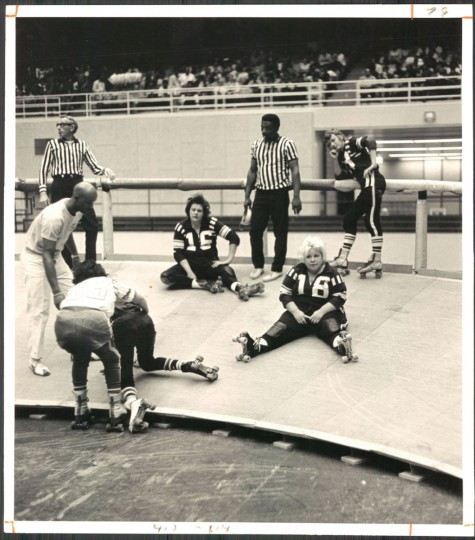 Baby Rocco and friends after spill at Roller Derby. January 16, 1972. (Hutchins/Baltimore Sun)