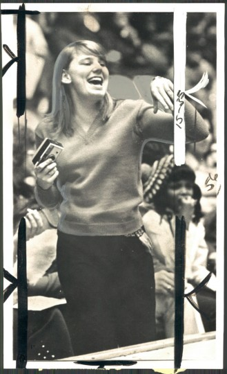 Fan at roller derby, January 12, 1972. (Baltimore Sun)