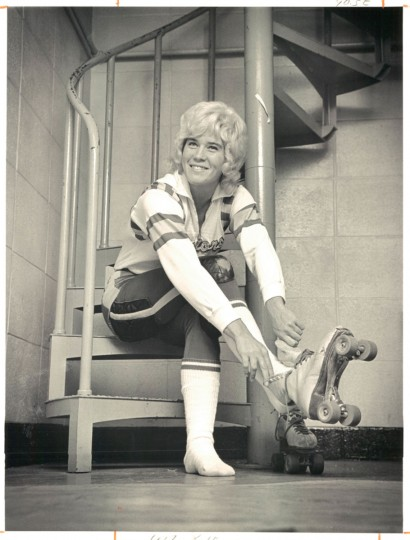 """Judy Arnold, of the Philadelphia Warriors, is """"Miss Clem"""" of the roller games. She skates from October to June, is believed to earn around $50,000 a year. Photo dated January 16, 1972. (Baltimore Sun)"""