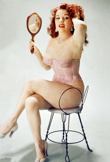 """Ruby Rockafella used this portrait of Blaze Starr to inspire her shoot with Steve Parke. The photo appealed to Rockafella for its simplicity. """"It's just her in a chair getting ready for the day,"""" says Rockafella. """"There were no frills."""""""