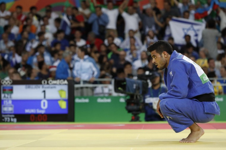 Israel's Sagi Muki reacts after losing to Azerbaijan's Rustam Orujov during their men's -73kg judo contest semifinal B match of the Rio 2016 Olympic Games in Rio de Janeiro on August 8, 2016. (JACK GUEZ/AFP/Getty Images)