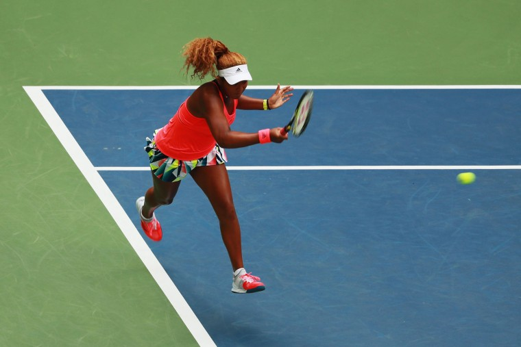 Naomi Osaka of Japan returns a shot to Madison Keys of the United States during her third round Women's Singles match on Day Five of the 2016 US Open at the USTA Billie Jean King National Tennis Center on September 2, 2016 in the Flushing neighborhood of the Queens borough of New York City. (Photo by Michael Reaves/Getty Images)