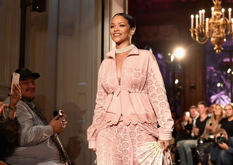 Rihanna walks the runway during FENTY x PUMA by Rihanna at Hotel Salomon de Rothschild on September 28, 2016 in Paris, France. (Photo by Jacopo Raule/Getty Images for Fenty x Puma)