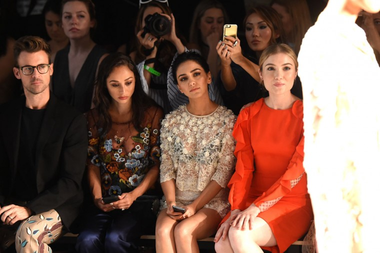 NEW YORK, NY - SEPTEMBER 11: (L-R) Brad Goreski, Cara Santana, Nazanin Boniadi, and Skyler Samuels attend the Jenny Packham fashion show during New York Fashion Week: The Shows at The Dock, Skylight at Moynihan Station on September 11, 2016 in New York City. (Photo by Nicholas Hunt/Getty Images for New York Fashion Week: The Shows)