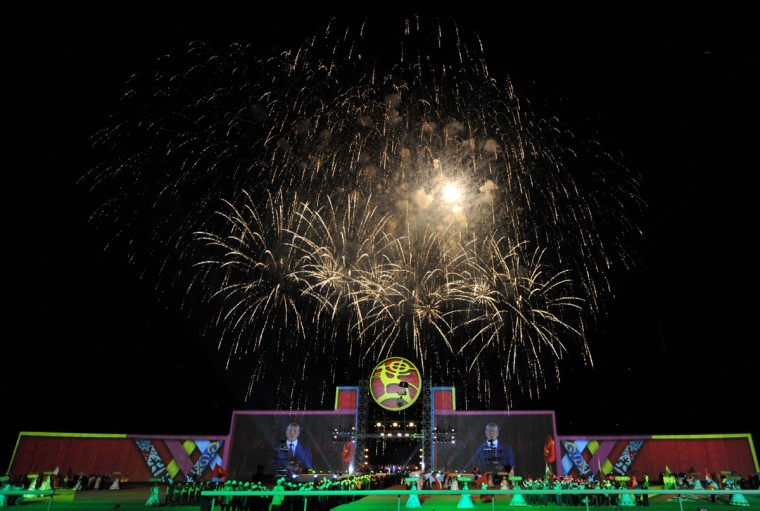Fireworks explode in the sky during the opening ceremony of the World Nomad Games 2016 at the hippodrome of Cholpon-Ata on the shores of Lake Issyk-Kul, some 270 kms outside the capital Bishkek, on September 3, 2016. (VYACHESLAV OSELEDKO/AFP/Getty Images)