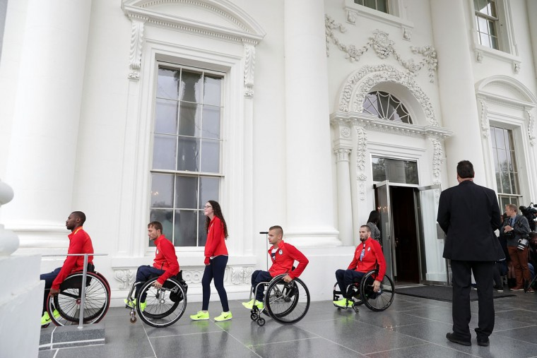 WASHINGTON, DC - SEPTEMBER 29: Members of the U.S. Paralympic team leave the North Portico after an East Room event at the White House September 29, 2016 in Washington, DC. President Barack Obama and first lady Michelle Obama welcome the 2016 U.S. Olympic and Paralympic teams to the White House to honor their participation and success in the Rio Olympic Games this year. (Photo by Alex Wong/Getty Images)