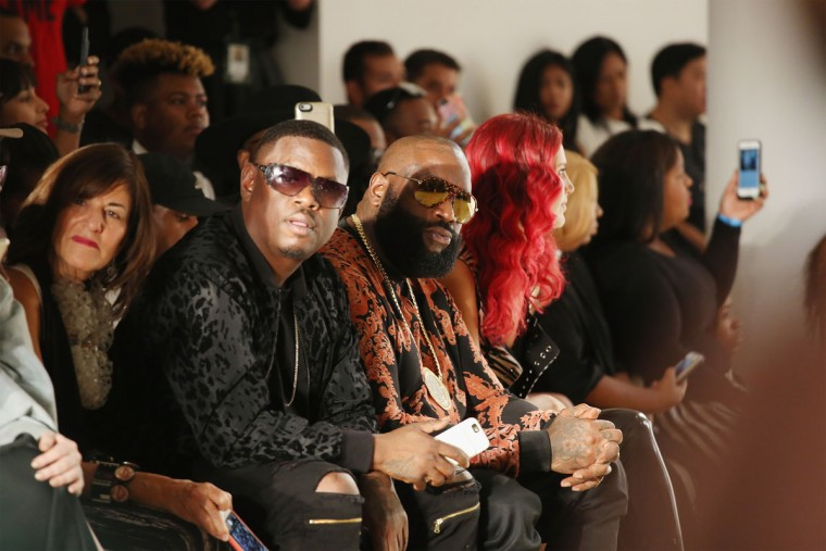 NEW YORK, NY - SEPTEMBER 11: Rapper Rick Ross (R) attends Pyer Moss fashion show during MADE Fashion Week September 2016 at Milk Studios on September 11, 2016 in New York City. (Photo by Mireya Acierto/Getty Images)