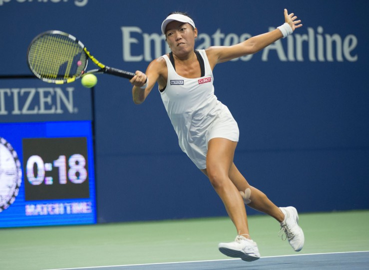 Vania King of the US hits a return to Serena Williams of the US during their 2016 US Open women's singles match at the USTA Billie Jean King National Tennis Center on September 1, 2016 in New York. (Don Emmert/AFP/Getty Images)