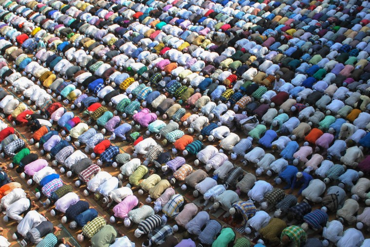 Indian Muslims offer prayers on Eid al-Adha at the Kharudin Mosque in Amritsar on September 13, 2016. Muslims across the world celebrate the annual festival of Eid al-Adha, or the Festival of Sacrifice, which marks the end of the Hajj pilgrimage to Mecca and in commemoration of Prophet Abraham's readiness to sacrifice his son to show obedience to God. (Narinder Nanu/AFP/Getty Images)