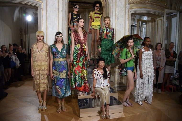 Tsumori Chisato (C) and models pose during the Tsumori Chisato : Presentation as part of the Paris Fashion Week Womenswear Spring/Summer 2017 on September 29, 2016 in Paris, France. (Photo by Antoine Antoniol/Getty Images)
