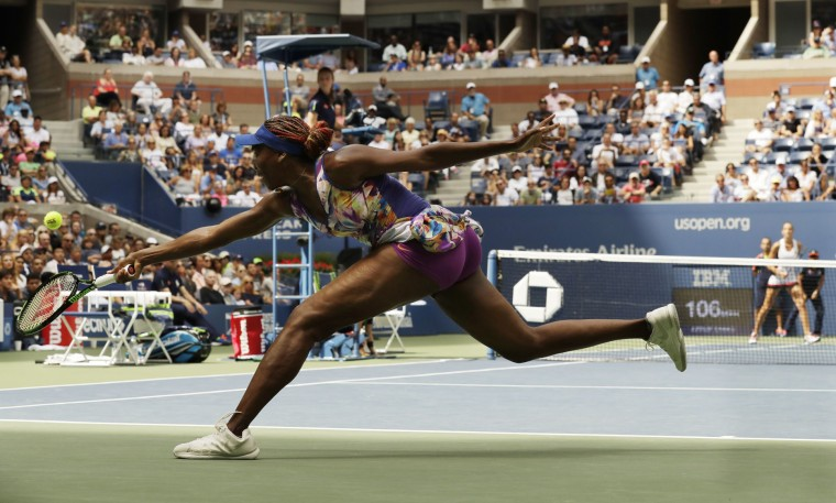 Venus Williams returns a shot to Karolina Pliskova, of the Czech Republic, during the fourth round of the U.S. Open tennis tournament, Monday, Sept. 5, 2016, in New York. (AP Photo/Charles Krupa)