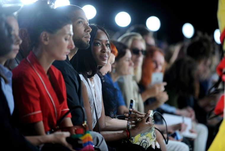Naomi Campbell, center, attends the Hood by Air Spring 2017 runway show during Fashion Week in New York, Sunday, Sept. 11, 2016. (AP Photo/Diane Bondareff)