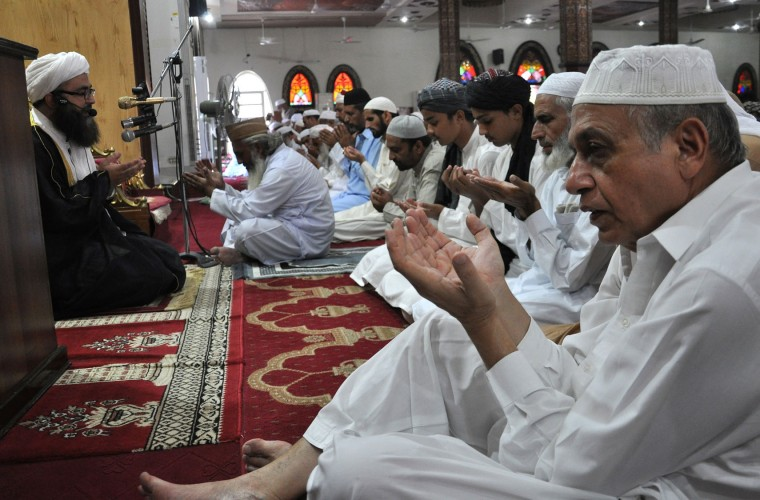 People pray to celebrate the Muslim Eid al-Adha holiday at a mosque in Islamabad, Pakistan, Tuesday, Sept. 13, 2016. Pakistanis are celebrating Eid al-Adha, or the Feast of the Sacrifice to mark the willingness of the Prophet Ibrahim -- Abraham to Christians and Jews -- to sacrifice his son. During the holiday Muslims slaughter sheep and cattle, distribute part of the meat to the poor. (AP Photo/B.K. Bangash)
