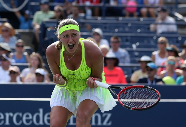 Petra Kvitova, of the Czech Republic, reacts after defeating Elina Svitolina, of Ukraine, during the third round of the U.S. Open tennis tournament, Friday, Sept. 2, 2016, in New York. (AP Photo/Seth Wenig)
