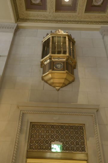 """The guard's tower at still watches over the lobby of the Lenore. """"The Federal Reserve Bank in Baltimore is equipped with tear-gas protection in addition to the sub-machine riot guns and other arms stacked ready for use in the watch tower of its lobby,"""" The Sun reported in 1940. (Christina Tkacik/Baltimore Sun)"""