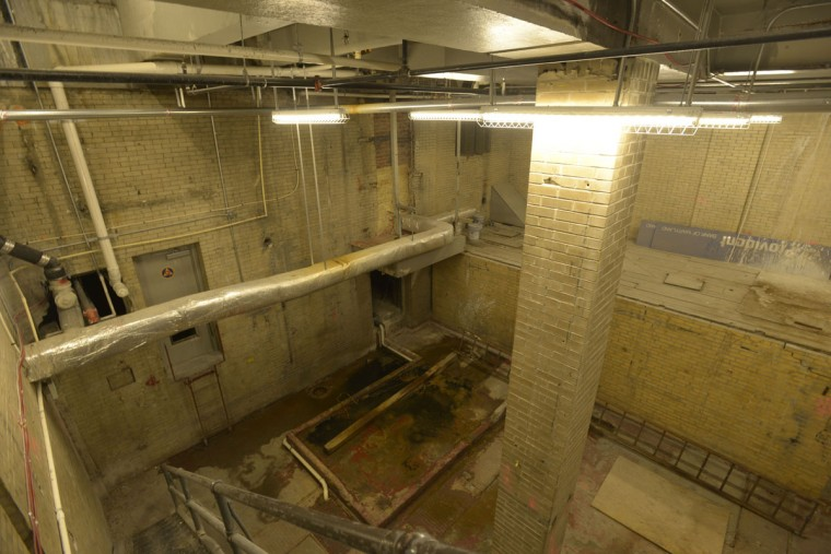 This underground bunker was once a fallout shelter in the basement of the Federal Bank, says Tony Sellers, head of maintenance at the Lenore. Today it's not used for much of anything. (Christina Tkacik/Baltimore Sun)